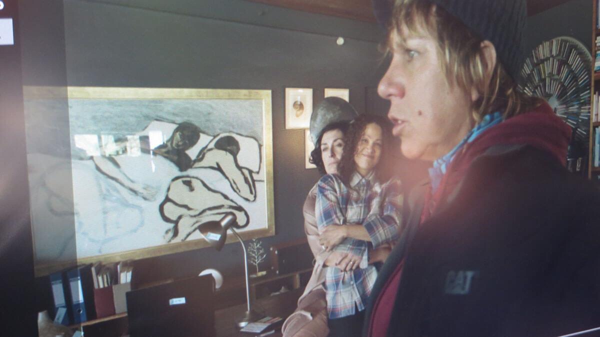 WYWL Dez & Terri's house Amelia, Dez (Sandi Schultz), Terri (Camilla Waldman) through the lens