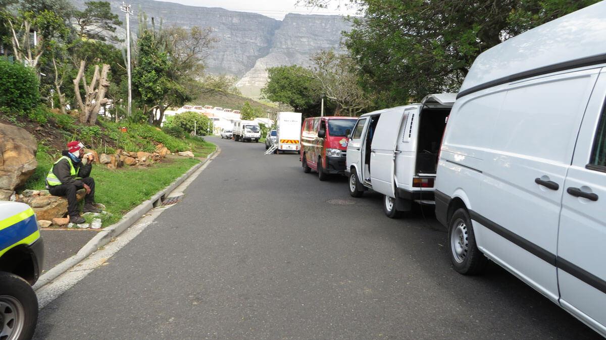 WYWL Dez & Terri's house crew cars trucks to the left