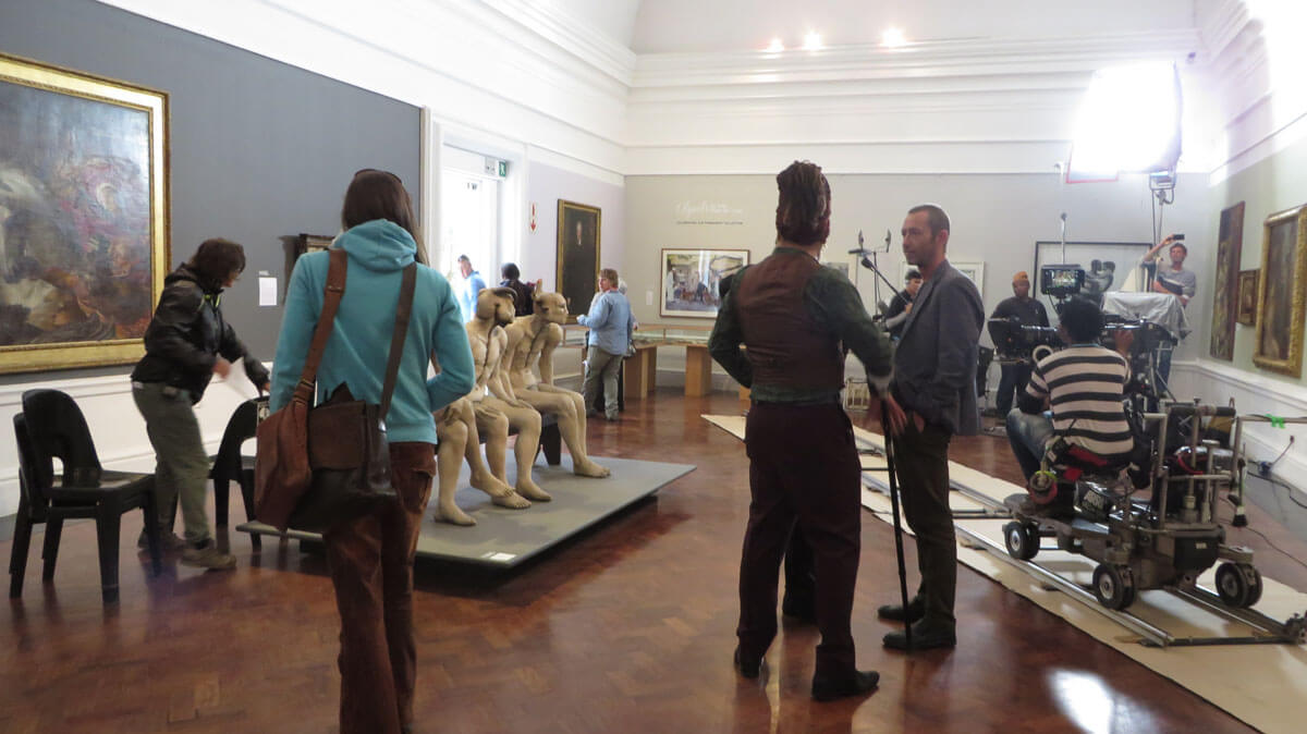 WYWL Iziko set up in front of The Butcher Boys by Jane Alexander