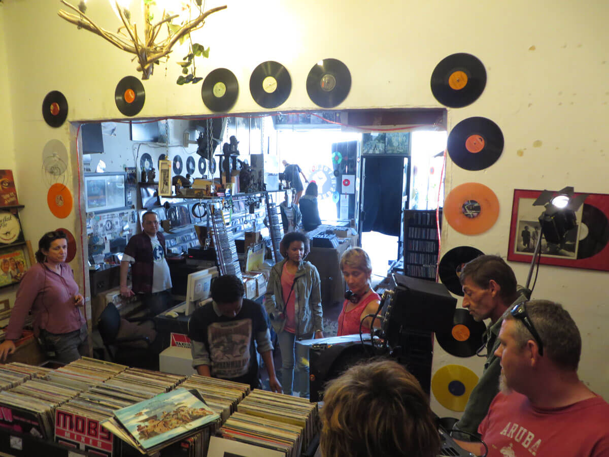WYWL Obs Record store setting up for the reverse shot