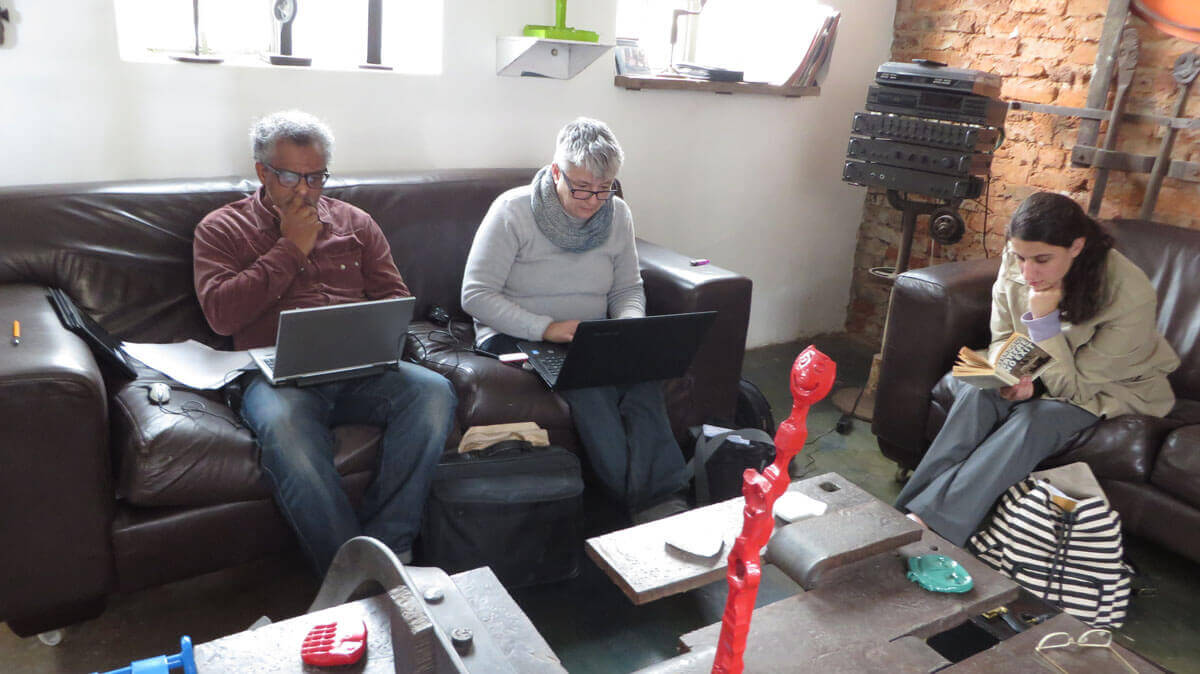 WYWL The Forge makeshift production office Sharief Thebus (location manager) Sharon Jackson (production coordinator) and Yael Urbach (intern)