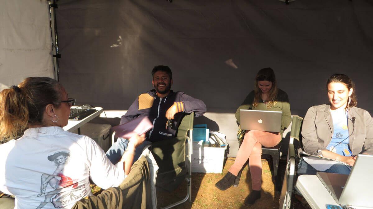 WYWL base camp Joy Hoes( 3rd AD) Warren Gray (production designer) Robyn Minnie (trainee) and Yael Urbach (production intern)