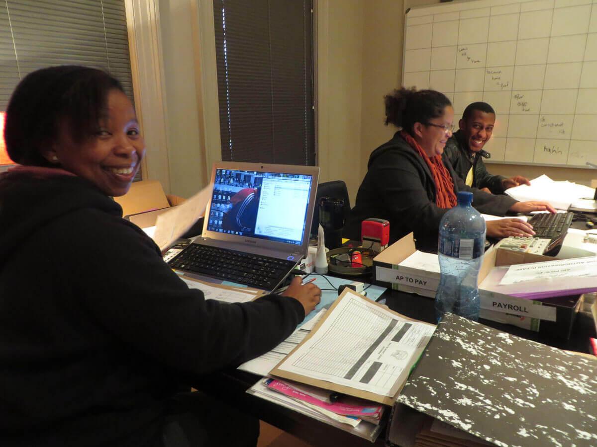 WYWL Accounts Sithe Stemela (1st assistant), Claudia Odunlaye (key accountant) and Siviwe Faleni (trainee)