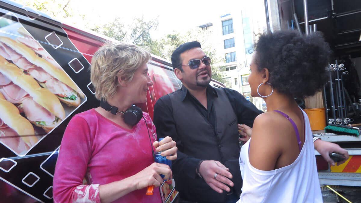 WYWL Director Catherine Stewart with Terence Bridgett (Tiny) and Petronella Tshuma (Asanda)