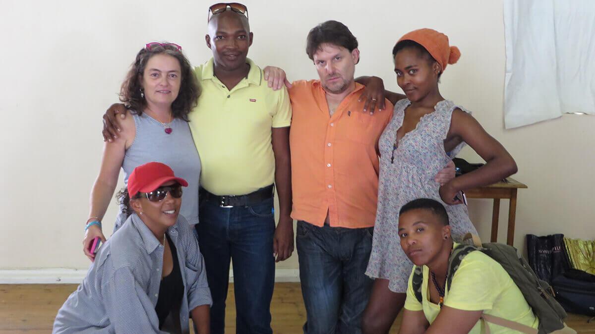 WYWL Script & Directors workshop LR back Megan Furniss, Deon Nebulane, Lleon Klingman, BuhleBezwe Siwani. LR front Riana Alfreds and Pamella Ngwabeni
