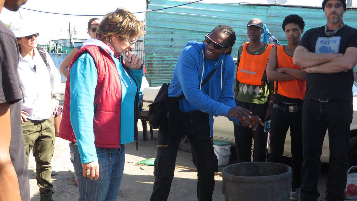 WYWL Khayalitsha Sakhumzi Mati (2nd Unit Director) with Amelia Henning (c'tographer), Derek Mansvelt (sound)